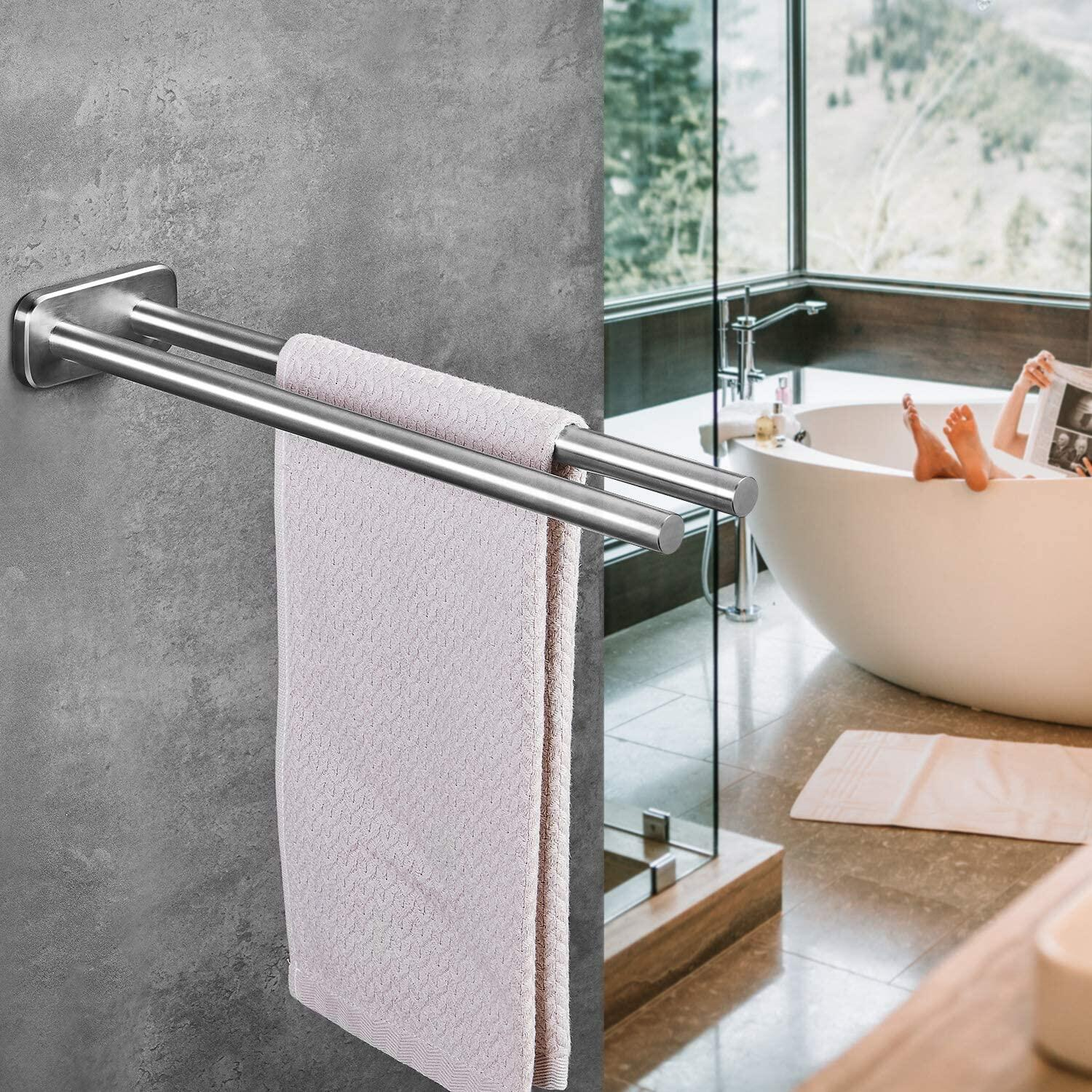 【New】JS Self Adhesive Towel Holder,Hand Towel Rail 40 cm Double Arm Brushed Stainless Steel Towel Rail Wall Mounted Towel Holder Bathroom and Kitchen JS Hand Towel Rail 40 cm Double Arm Brushed Stainless Steel Towel Rail Wall Mounted Towel Holder Bathroom and Kitchen Double Arm Brushed Stainless Steel Towel Rail