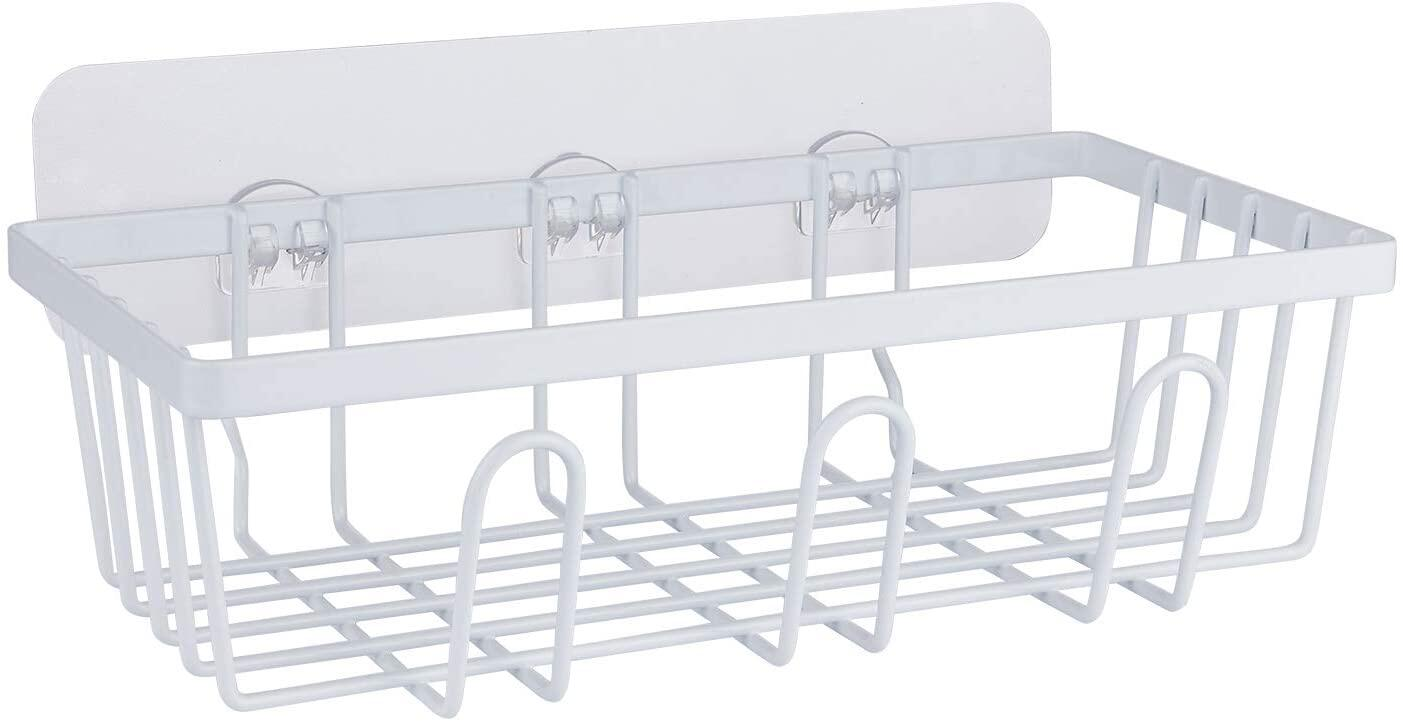 Shower Caddy Organiser, Bathroom Shelves Adhesive with 3 Hooks for Hanging Razor and Sponge Adhesive Rustproof Shower Shelf Stainless Steel Kitchen Shelf No Drilling for Bath, Kitchen, ecc. - White Shower Caddy Organiser Bathroom Shelves Adhesive with 3 Hooks for Hanging Razor and Sponge Adhesive Rustproof Shower Shelf Stainless Steel Kitchen Shelf No Drilling for Bath, Kitchen, ecc. - White Shower Basket