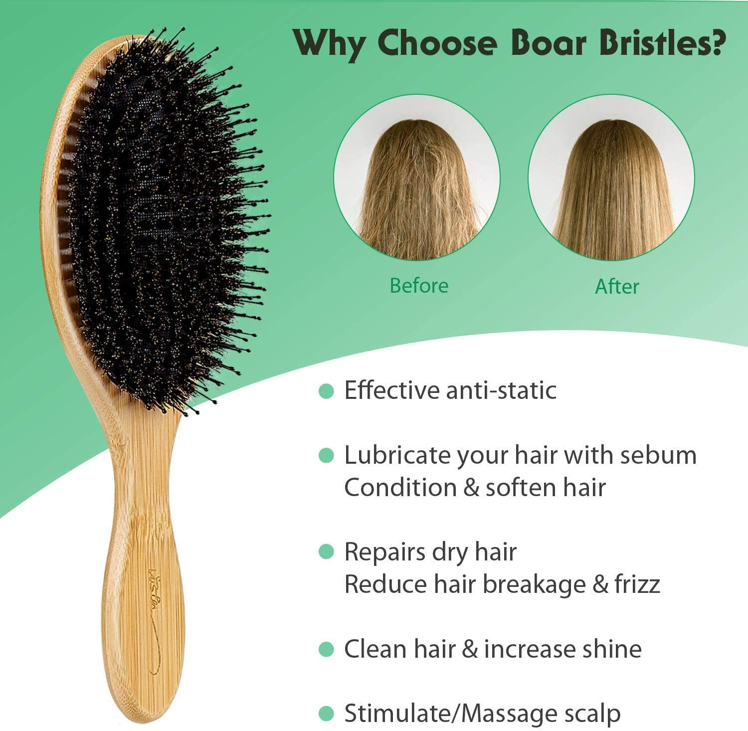 Boar Bristle Hair Brush, Natural Bamboo Paddle Hairbrush with Tail Comb for Long Thick Curly Wavy Dry or Damaged Hair Round Hair Brush Adds Shine and Makes Hair Smooth Comb Set for Men, Women, Kids Boar Bristle Hair Brush Natural Bamboo Paddle Hairbrush with Tail Comb for Long Thick Curly Wavy Dry or Damaged Hair Round Hair Brush Adds Shine and Makes Hair Smooth Comb Set for Men, Women, Kids Hair Brush