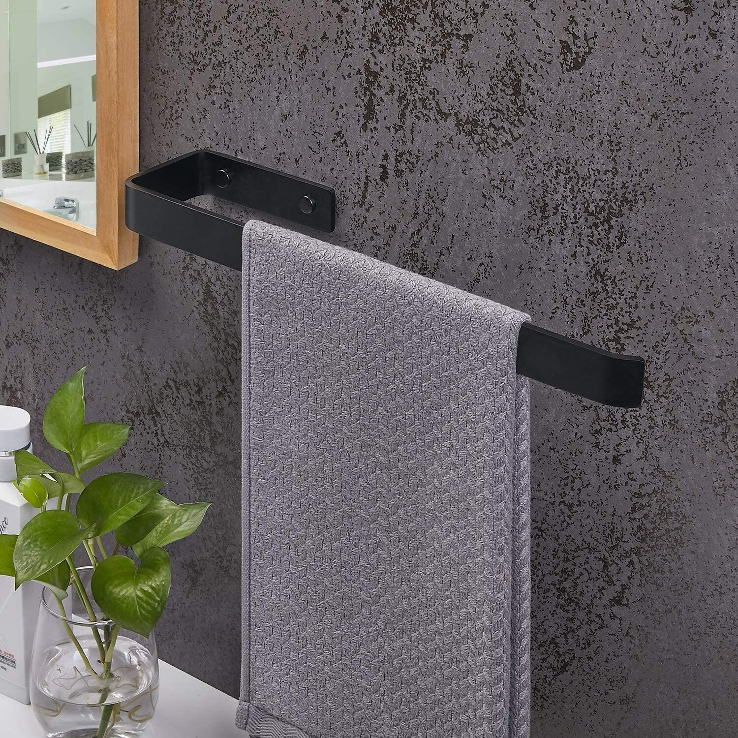 Towel Holder, bathroom black towel rail brushed stainless steel Wall mounting and cabinet mounting for bathroom, bathroom and kitchen, towel holder kitchen 38 cmTowel holder bathroom black towel rail brushed stainless steel Wall mounting and cabinet mounting for bathroom, bathroom and kitchen, towel holder kitchen 38 cmTowel Holder