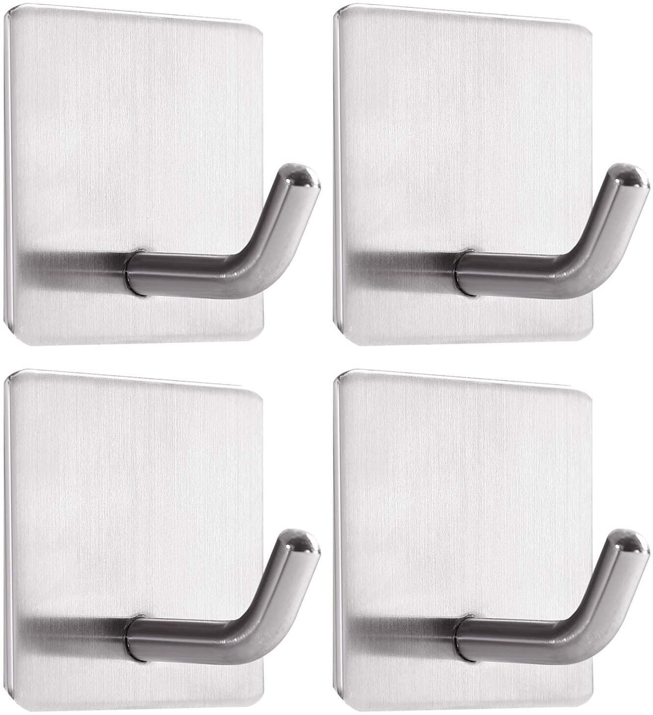 Self Adhesive Hooks, Stainless Steel Sticky Hooks Waterproof and Rustproof for Hanging on Wall, Door, Closet, Bathroom, Kitchen, Bedrooms for Towel, Tea Towel, Clothes - 4 PacksStick on Hooks, Self Adhesive Hooks Stainless Steel Sticky Hooks Waterproof and Rustproof for Hanging on Wall, Door, Closet, Bathroom, Kitchen, Bedrooms for Towel, Tea Towel, Clothes - 4 Packsself-adhesive hooks
