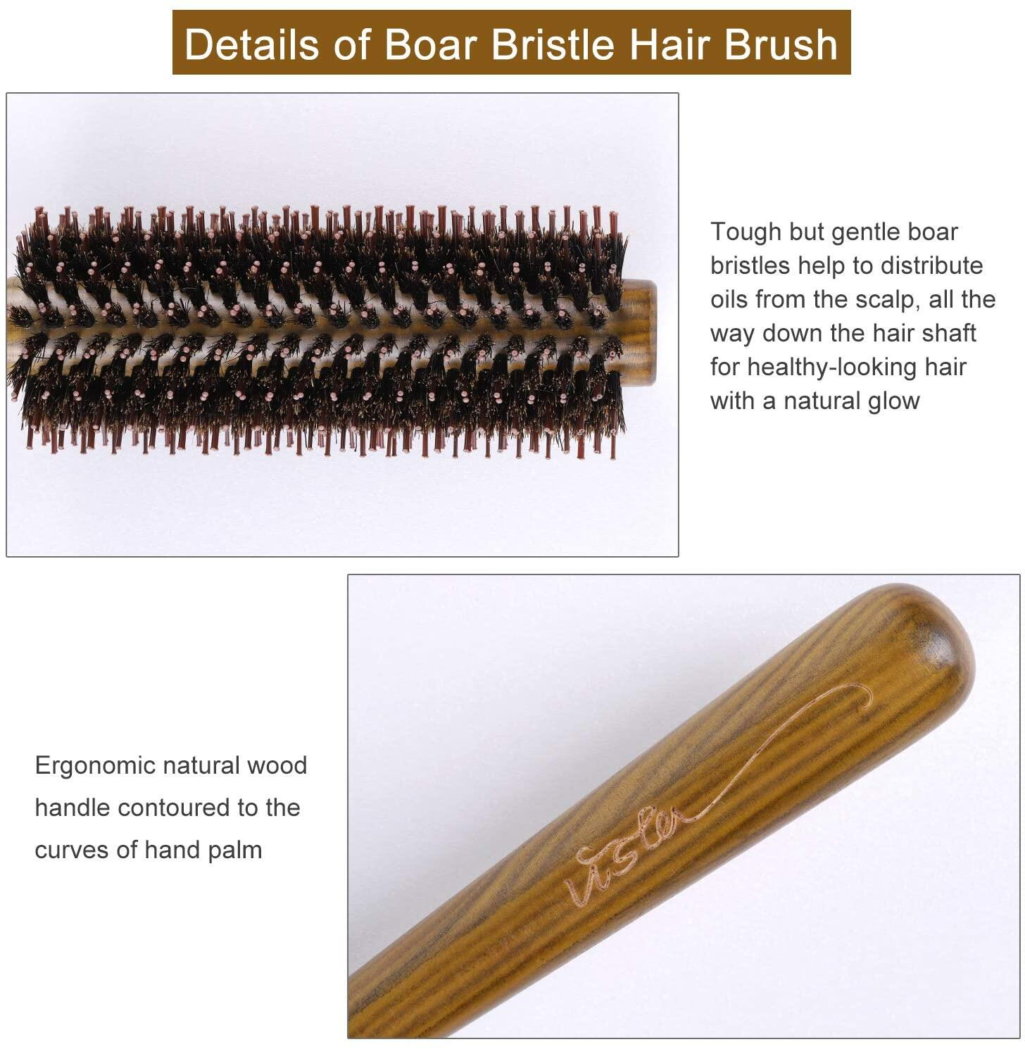 Boar Bristle Hair Brush, Vista Round Hair Brush Wooden Handle Anti Static Hairbrush for Hair Styling, Drying, Curling Boar Bristle Hairbrush Vista Round Hair Brush Wooden Handle Anti Static Hairbrush for Hair Styling, Drying, Curling hair brush