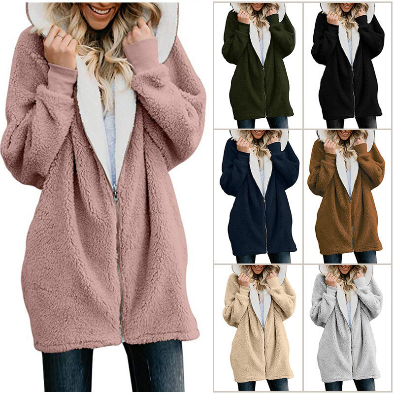 European and American plus size coat women's autumn and winter new hooded zipper cardigan plush jacket plush sweater Plus size coat women's winter hooded zipper cardigan plush jacket plus size coat