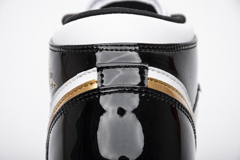 BootsMasterLin Air Jordan Mid Patent Black White Gold, 852542-007