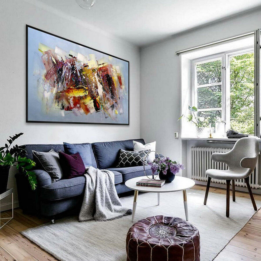extra large abstract colorful painting on canvas ...