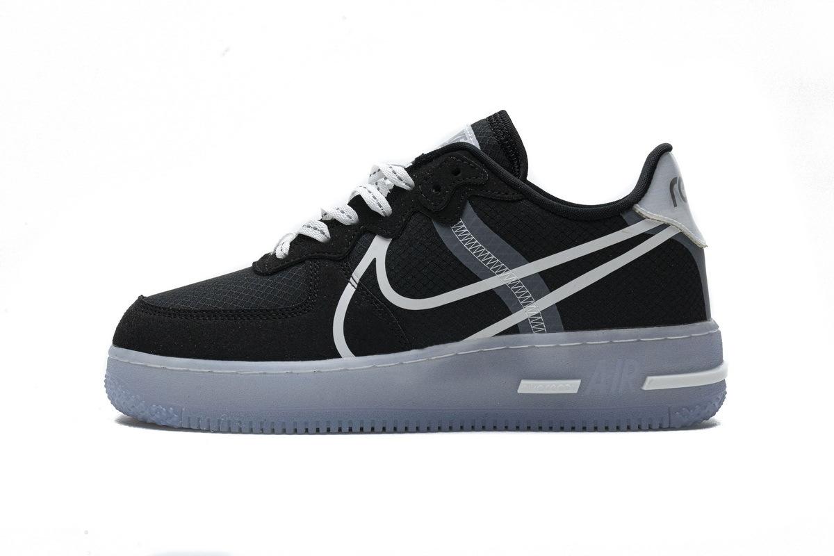 PK God Nike Air Force 1 React Black White Rush Ice