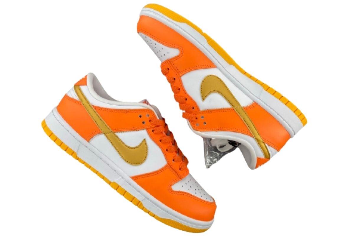 PK God Nike Dunk Low White/Orange Blaze-Gold