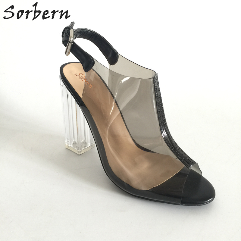 a4d2bb28581 Sexy Transparent PVC Women Shoes Peep Toe Slingbacks Pumps Clear Heels