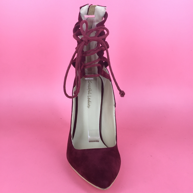 Red Lace Up Ladies Pump Shoes Pointed Toe Sexy Mature Style Plus Size