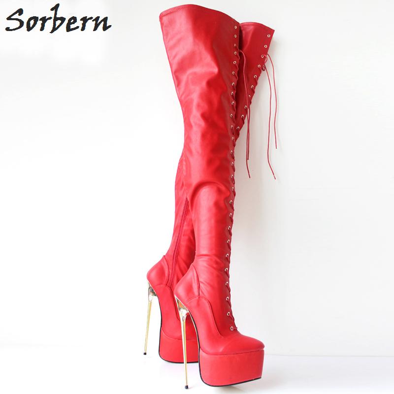 b01243a453aa 30CM Extreme High Heel Metal Heels Platform Boots