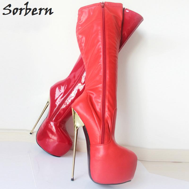 aa53de9d3e2 Red 22CM Ultra High Heel Boots BDSM Boots Gold Metal Heels