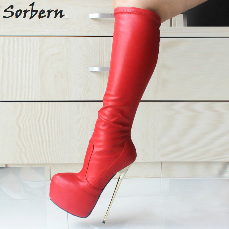 e7625a459717 Red 22CM Ultra High Heel Boots BDSM Boots Gold Metal Heels