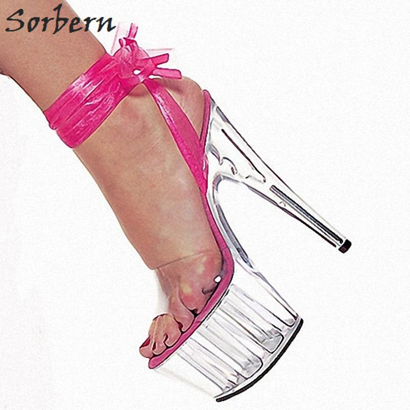 03ee0ccd24f Sorbern Ankle Strap Clear Heels Women Sandals Custom Color