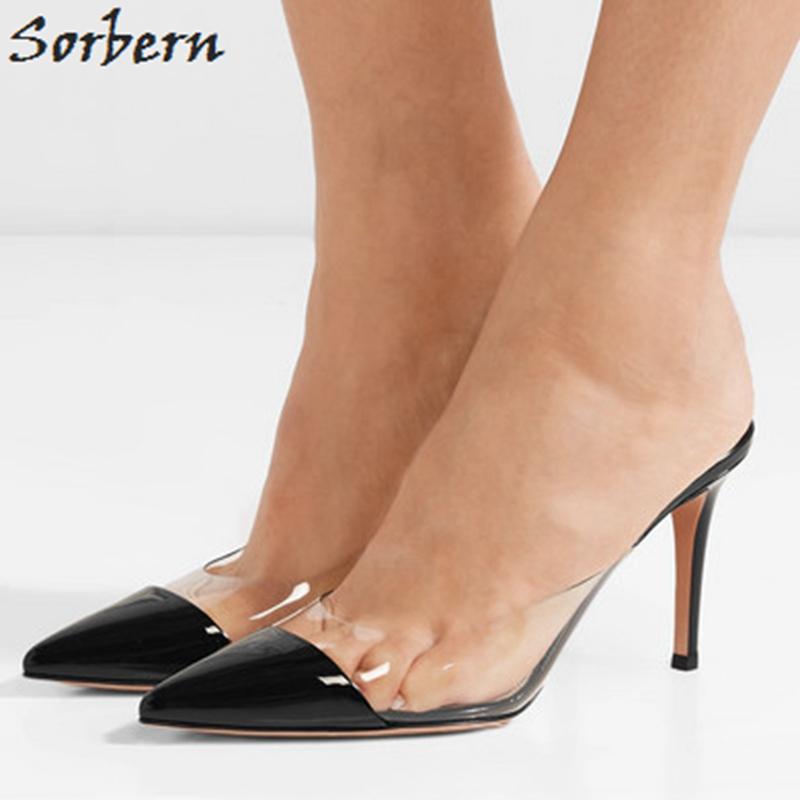 c54c476c86 Clear PVC Black Pointed Toe Mules High Heels Velvet Slippers Custom Colors