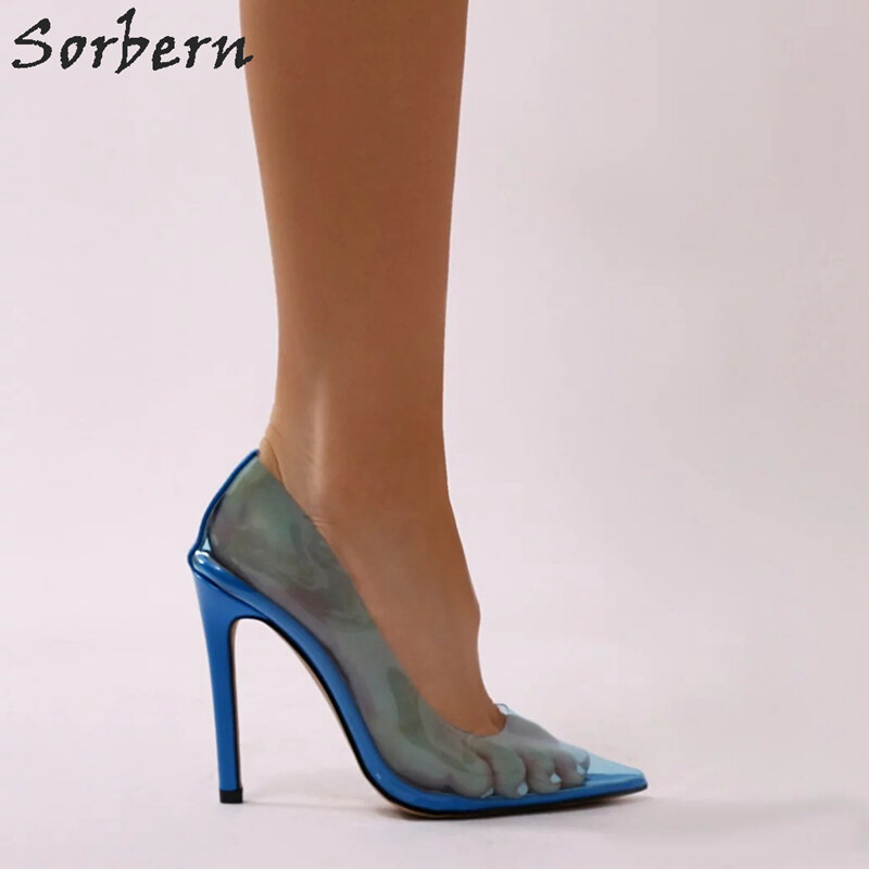 150a146b8e7 Sorbern Blue Transparent High Heel Shoes Women Stilettos Pointed Toe