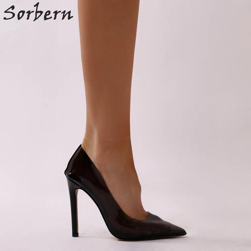 c46a93d1bdaac Sorbern Black See Through Ladies Pump Perspex Court Heels Shoes Women