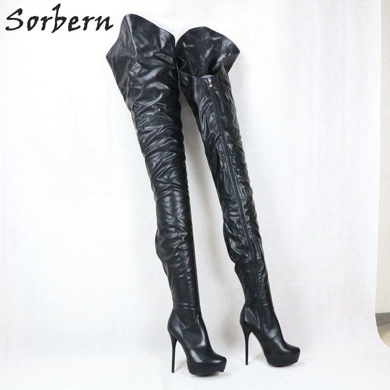 Sorbern Custom Black Matt Extreme Long Boots Women High Heel Platform Asymmetry Outside Long Inside Short Female Boots