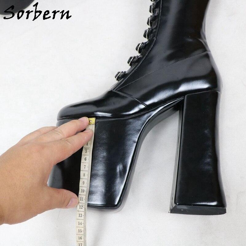 Sorbern Luxury Women Boots Chunky High Heel Round Toe Buckle Strap Front Platform Block Heel Round Toe Custom Multi Colors