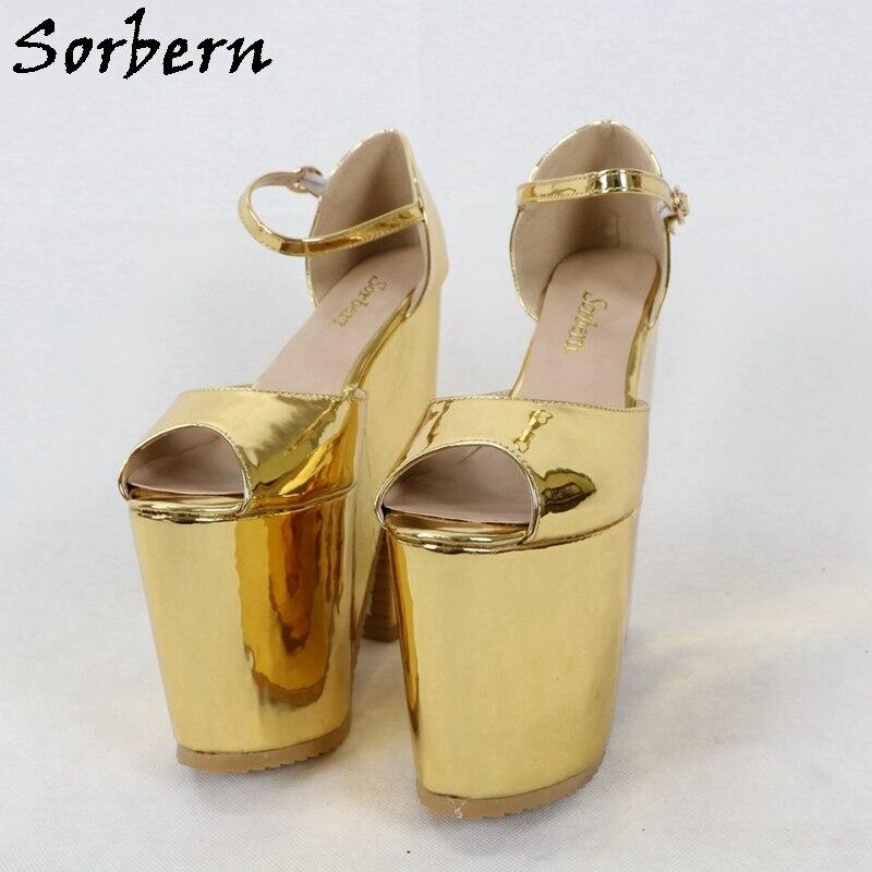 Sorbern Golden Extreme Heel Strap Wedge Shoes Sandals Open Toe Platform Summer Shoes For Women Sandal Shoes Woman Heels