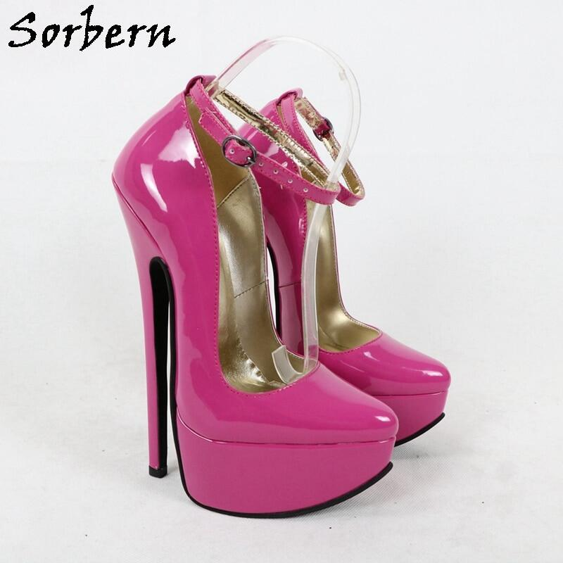 Sorbern 20cm Shiny Shoes Women Pumps Ankle Strap High Heel Pointed Toe Stilettos Pointed Toes Platform Heels Cross Heel Custom