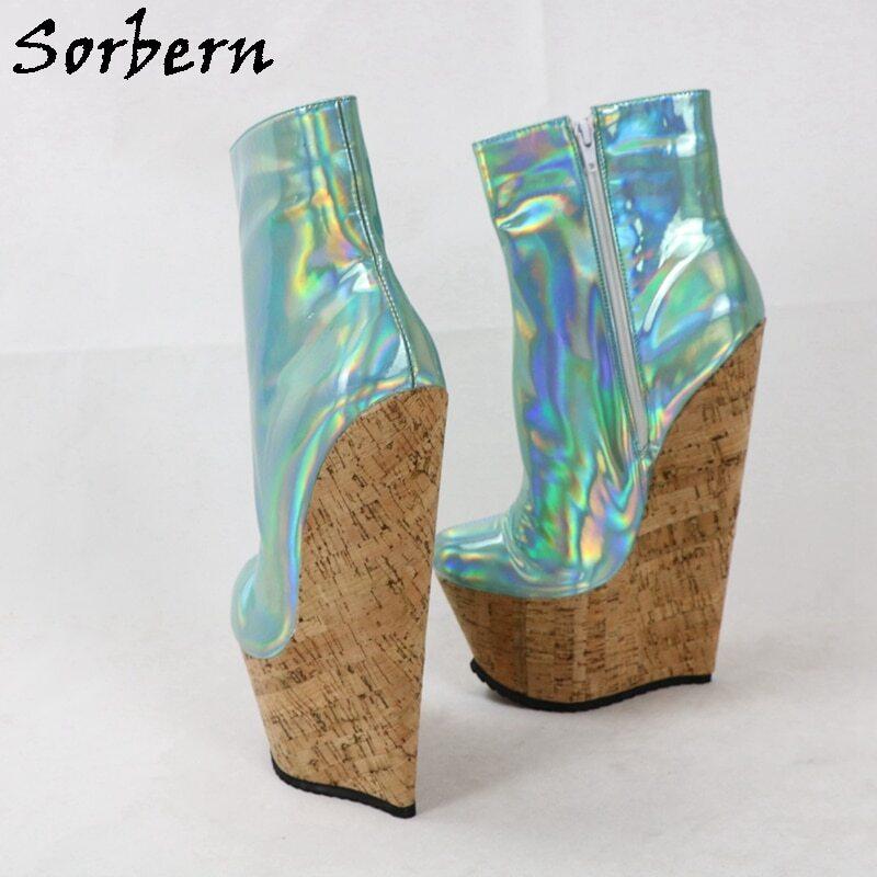 Sorbern 22Cm Wedges Heels Boots Women Ankle High Crok Platform Short Ladies Booties Plus Size 18 Cosplay Shoes Custom Colors