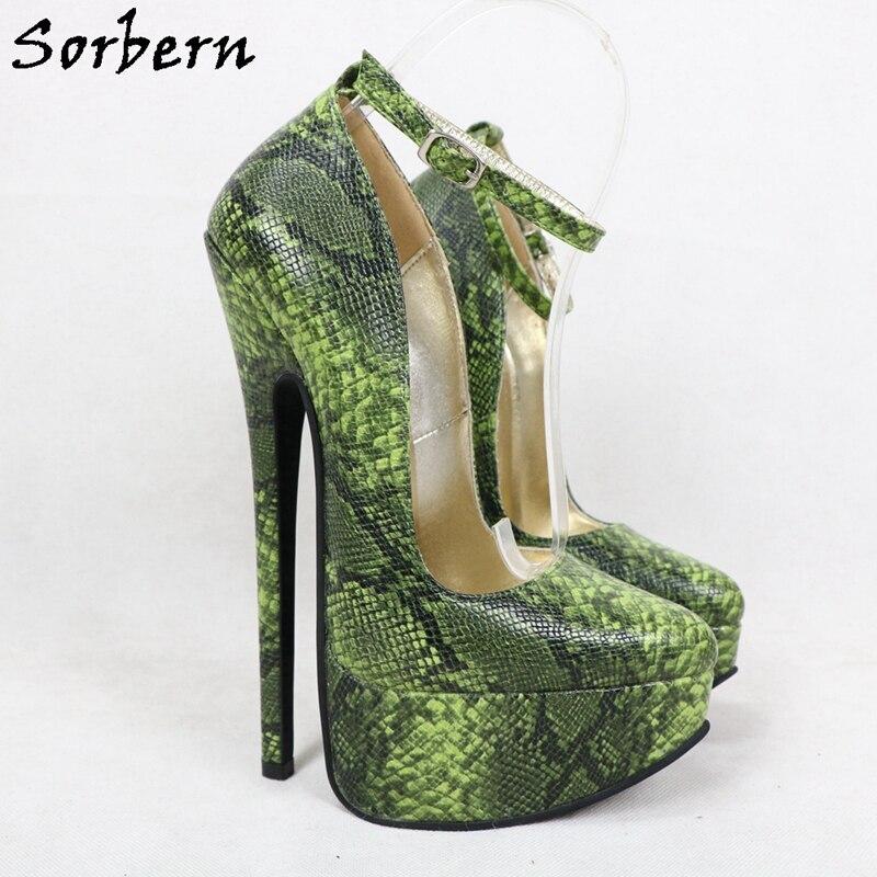 Sorbern Faux Leather Snake Women Pumps Ankle Strap 20Cm High Platform Pointy Toe Wine Red Shoe Females Fetish High Heels