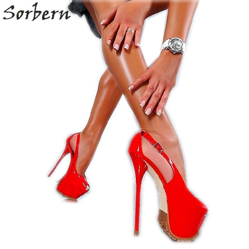 Sorbern Sexy Metal High Heel Women Pump Shoes Stilettos 15Cm Heels Size 38 Ankle Straps Genuine Leather Lady Shoes Crossdresser