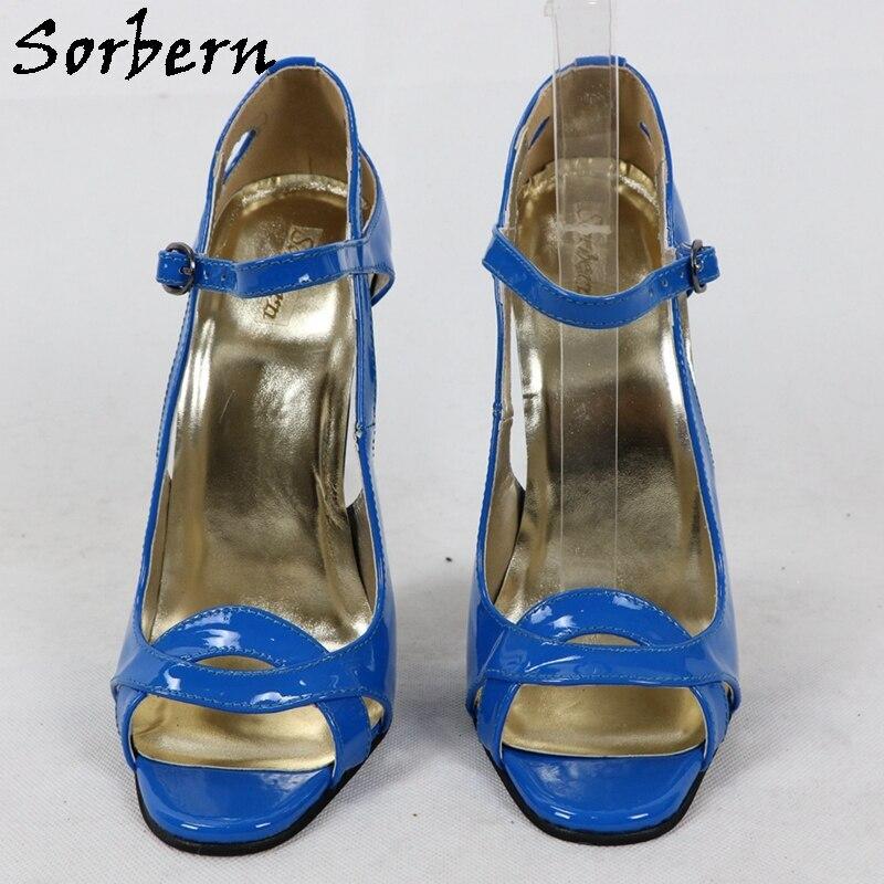 Sorbern Custom Women Sandals High Heel Shiny 16Cm Open Toe Summer Shoes Crossdresser Sandal Mary Janes Female Shoes 2020