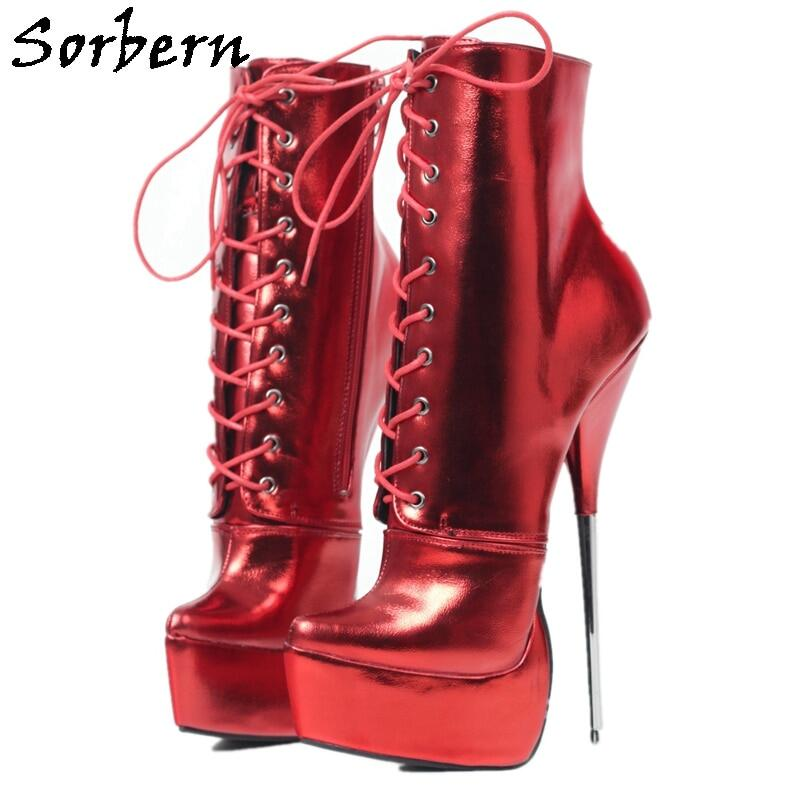 Sorbern Red Metallic Matt Ankle Boots Women Metal High Heel Ballet Style Pointed Toe Booties For Transfer Guys Lace Up Shoes