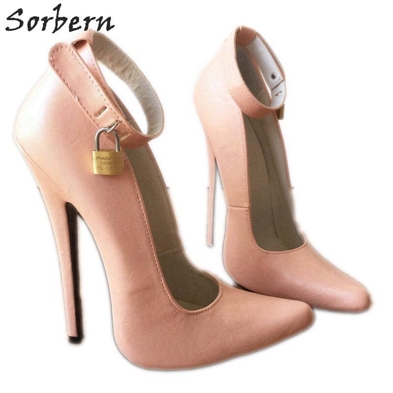 Sorbern Black Matt Women Pumps With Ankle Straps Metal Ballet High Heel Platform Shoes Sexy Fetish Transfer Guys Shoes Custom