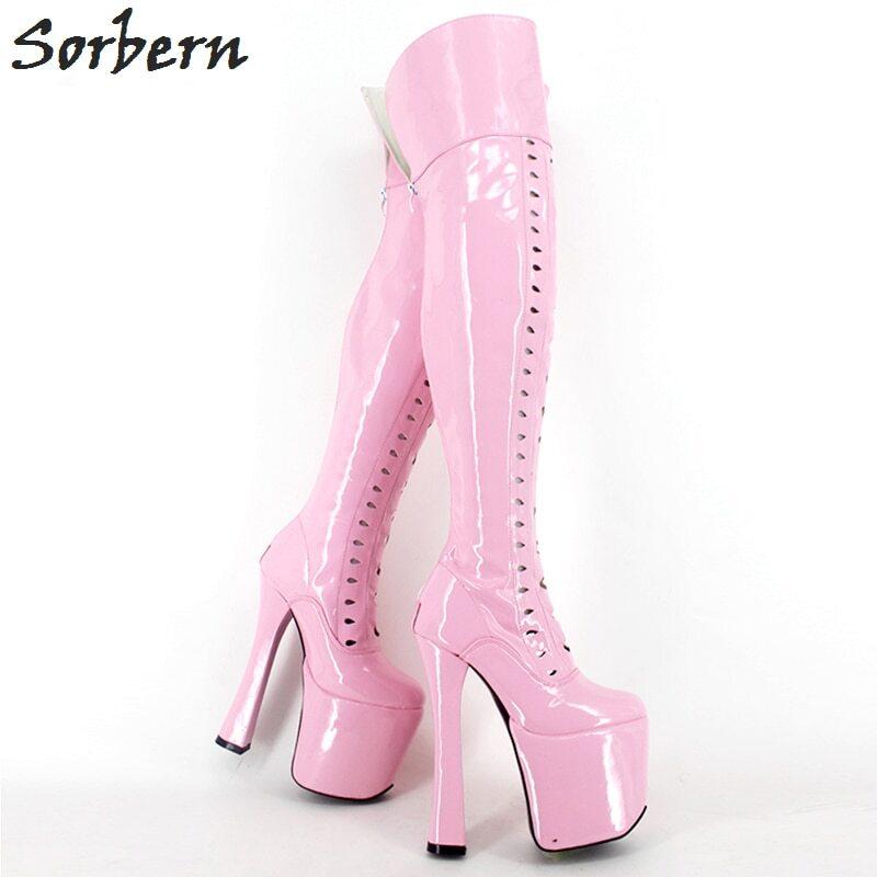 Sorbern 18Cm Stiletto Over The Knee Boots For Women Custom Leg Calf Size Hard Shaft Gold Ribbon Trim Mid-Thigh Boot Patent Black