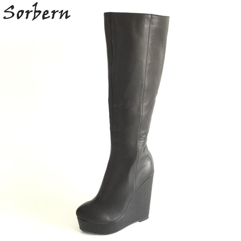 Sorbern Wine Red Matt Ballet Boots Women Knee High Heelless Lockable Straps Fetish Stand On Toes Boot Custom Wide Slim Leg Fit