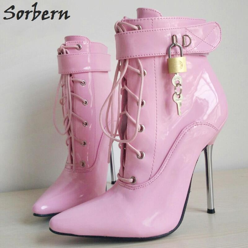 Sorbern Patent Women Booties Ballet High Heel Stilettos Sexy Fetish Shoes Lockable Zipper Ankle Booties Lace Up Custom Colors