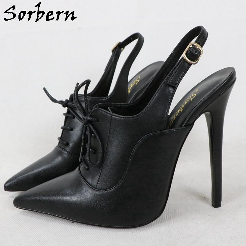 Sorbern Genuine Leather Slingback Pump Shoes Women High Heel 14Cm Stilettos Pointed Toe Lady Mature Shoe Custom Red White Color