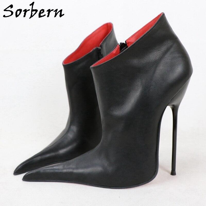 Sorbern Matt Black Genuine Leather Ankle Boots Side Zipper 16Cm Metal High Heels Stilettos Long Pointy Toes Shoes Custom Color
