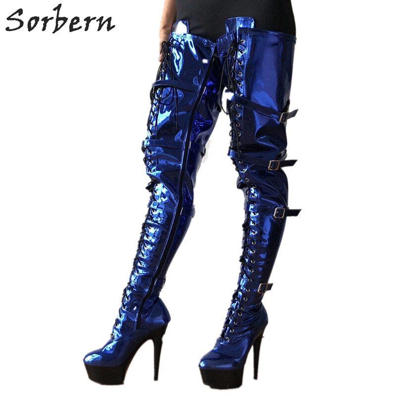 Sorbern 15Cm High Heel Women Pump Lace Up Shoe Metal Stilettos Pointed Toe Shoes Unisex Pump Fetish Heeled Custom Colors