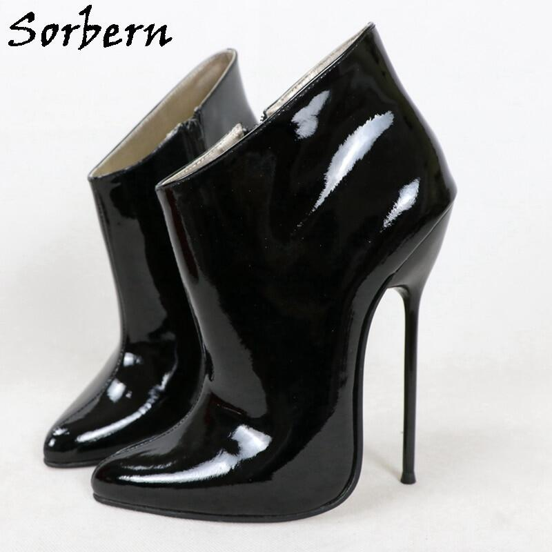 Sorbern 16cm Genuine Leather Wide Ankle Boots Women Metal High Heels Zipper Stilettos Long Pointed Toes Shoes Custom Color