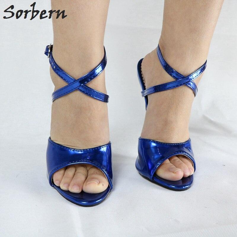Sorbern Metallic Women Sandal High Heels 18Cm Stilettos Ankle Strap Heels Sexy Fetish Shoes Crossdresser Heeled Slingback Sandal