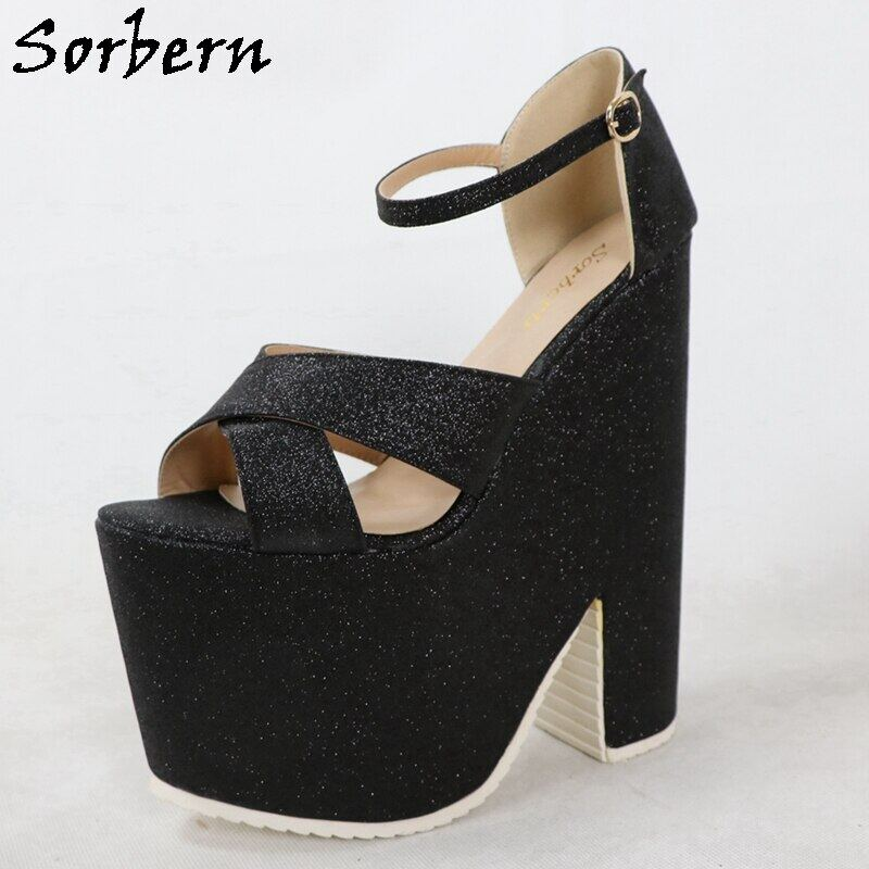 Sorbern Blingbling Glitter Women Sandals Thick Platform Block High Heels Ankle Straps Ladies Shoes Summer Style Open Toe Custom