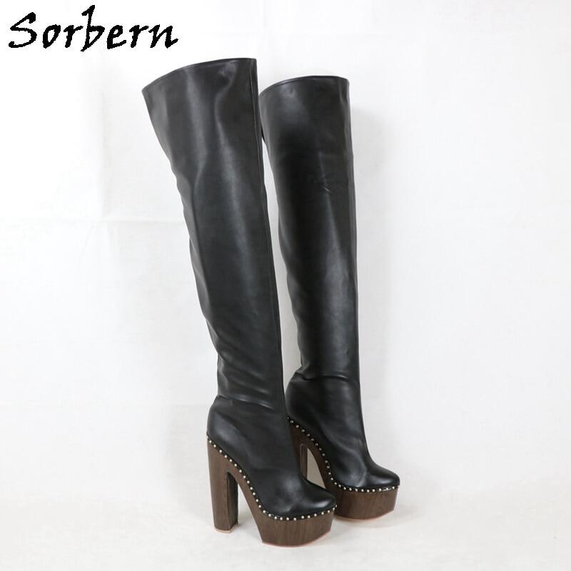 Sorbern Made-To-Order Studs Boots Women Cork Style Platform Block High Heels V Back Mid Thigh High Boots Lady Shoe Custom Color