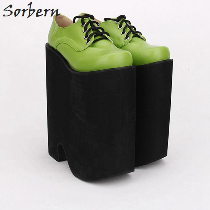 Sorbern Wedge High Heel Ankle Boots For Women Platform Shoes Ladies Round Toe Lace Up Women Shoes Size 44 Fashion Heels Boots