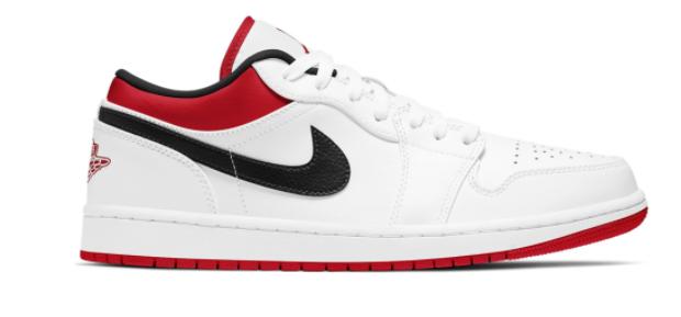 Air Jordan 1 Low White University Red Black