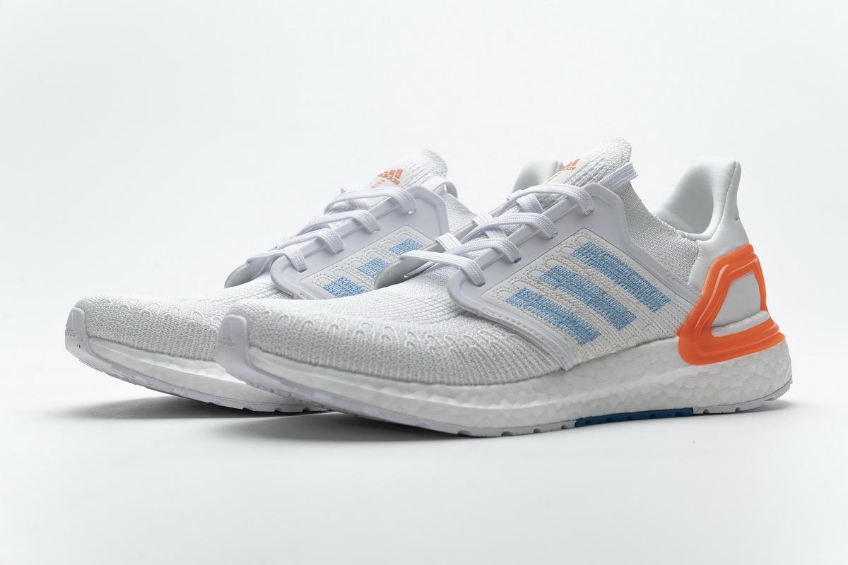 Adidas Ultra Boost 20 White Sharp Blue True Orange EG0768
