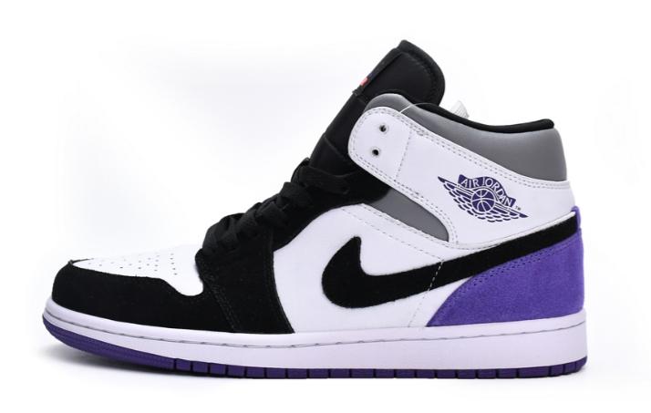 Air Jordan 1 Mid SE Black White Purple