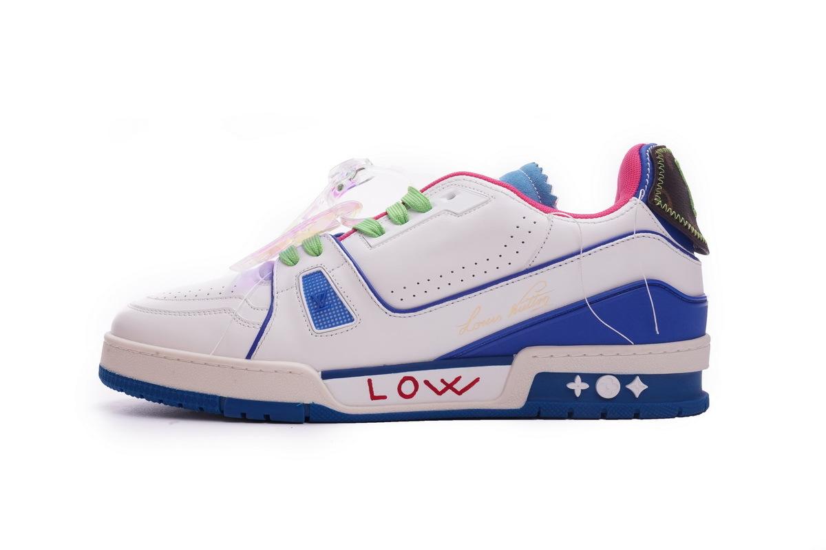 Louis Vuitton Trainer White Pink Blue