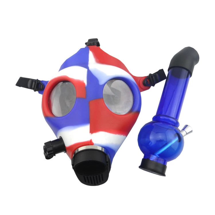 Gas Mask Silicone Bong With Acrylic Straight Percolator Pipe