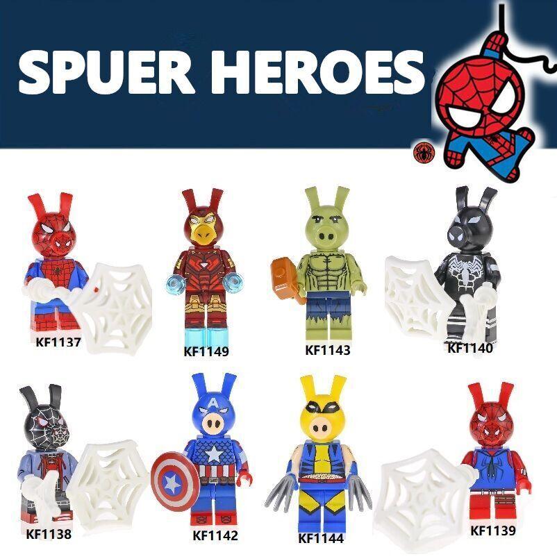 Kopf Superhero Series - Spider Pigman Green Giant Pig Assembled Building Block Minifigure