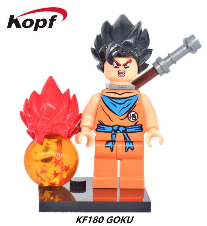 Kopf Dragon Ball Monkey King with Red and Black Hair Assembling Minifigures
