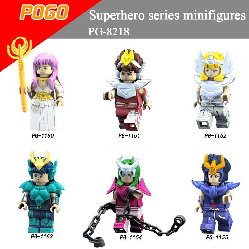 Pogo Superhero Series PG8218 Saint Seiya Athena Glacier Purple Dragon Kazuki Minifigures