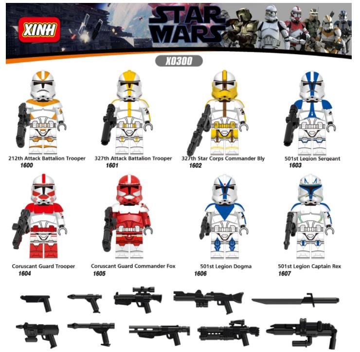 XINH Star Wars Legionnaire Commander Shocks Troops Minifigures